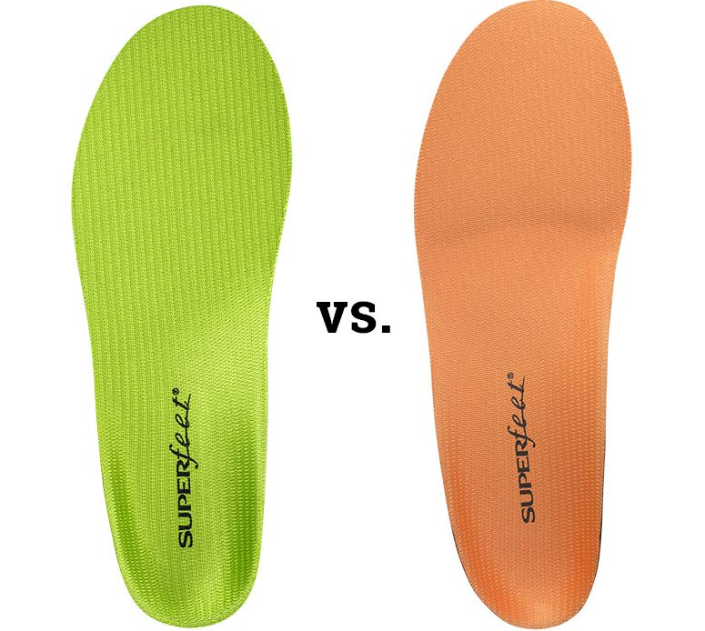 Superfeet green and superfeet orange insoles for comfort and stability