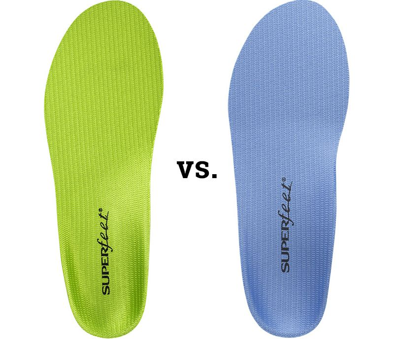Superfeet green and blue insoles for sports and casual activity