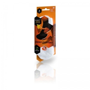 Enertor White and Orange Energy Everyday Socks (Pack of 2 Pairs)